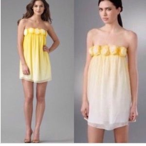 Alice + Olivia new yellow ombré rosette dress L